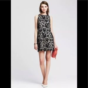 Banana Republic Black Scalloped Lace Overlay Dress